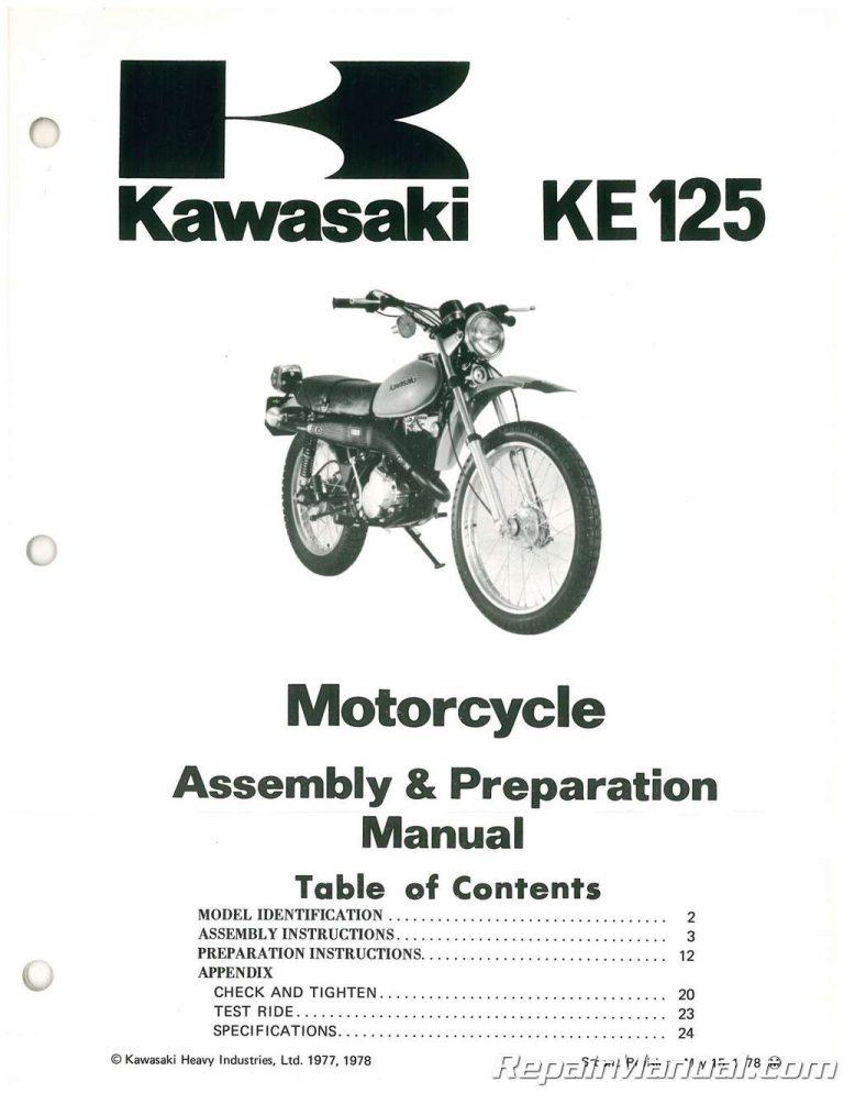 1979 Kawasaki KE125 A6 Motorcycle Assembly Preparation Manual