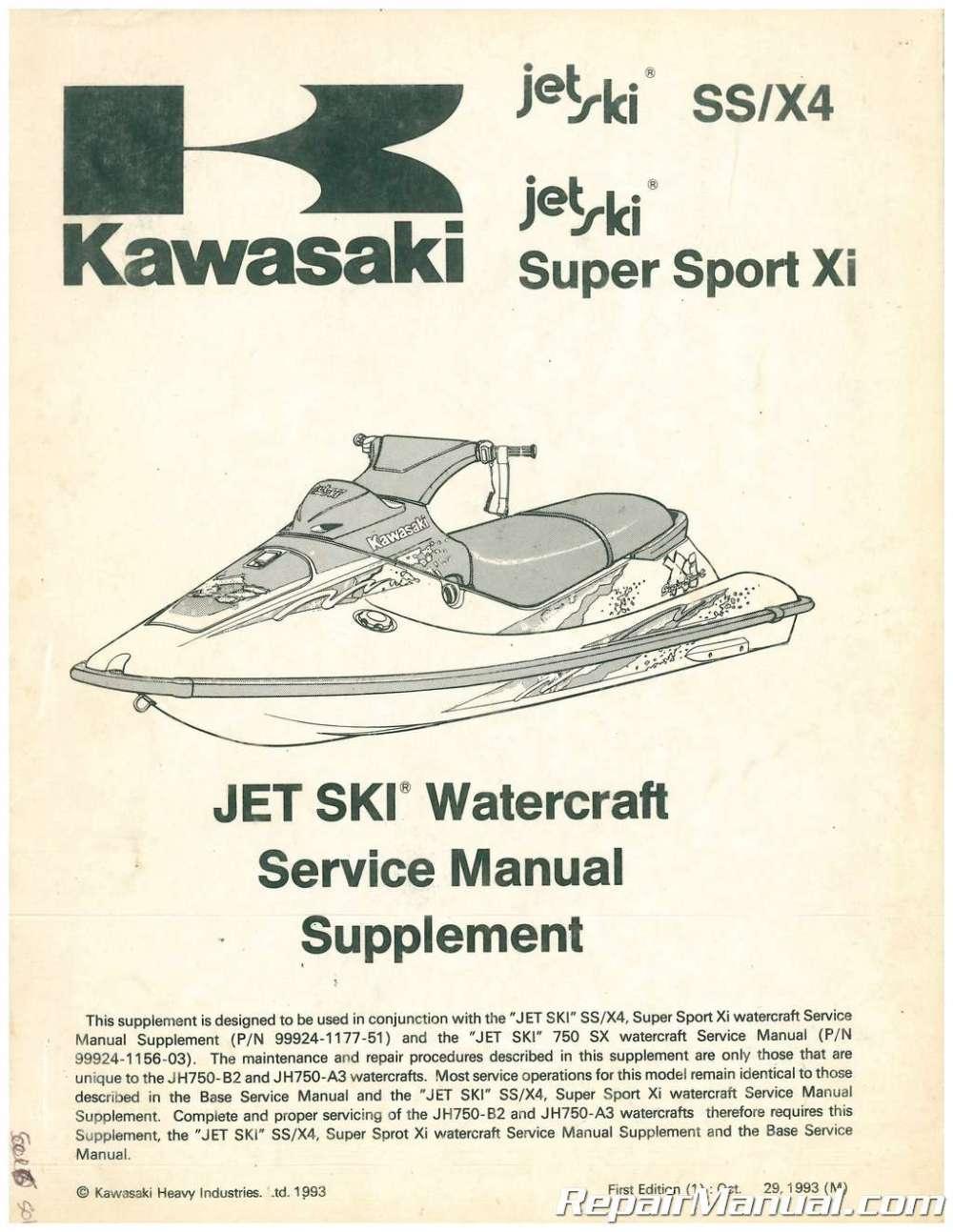 medium resolution of used 1994 kawasaki jet ski ss x4 super sport x1 service manual supplement
