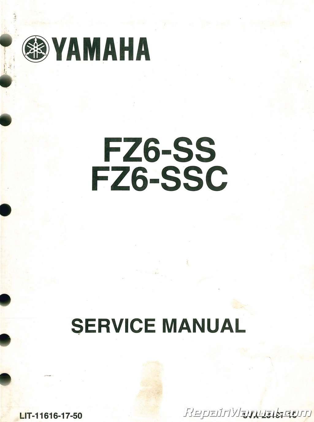 Used Yamaha Fz6 Motorcycle Service Manual
