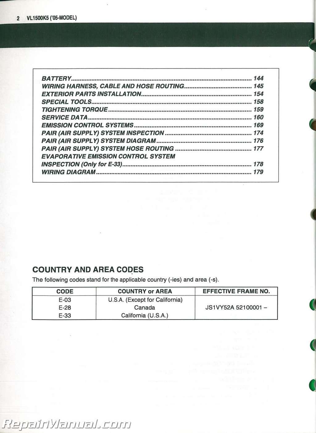 hight resolution of used 2005 suzuki vl1500 intruder c90 motorcycle service manual supplement