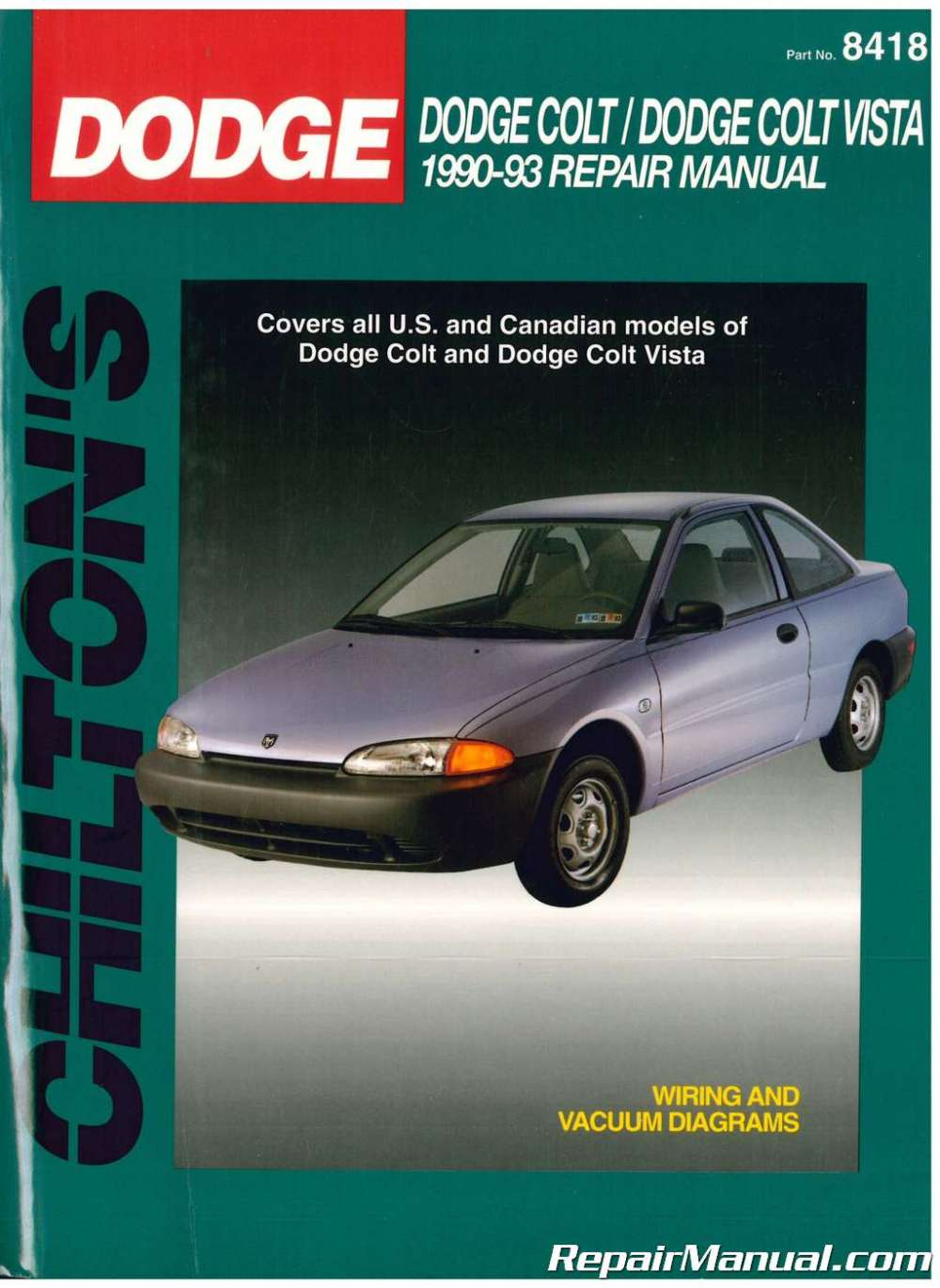 medium resolution of used chilton dodge colt dodge colt vista 1990 1993 repair manual 1990 dodge colt engine diagram
