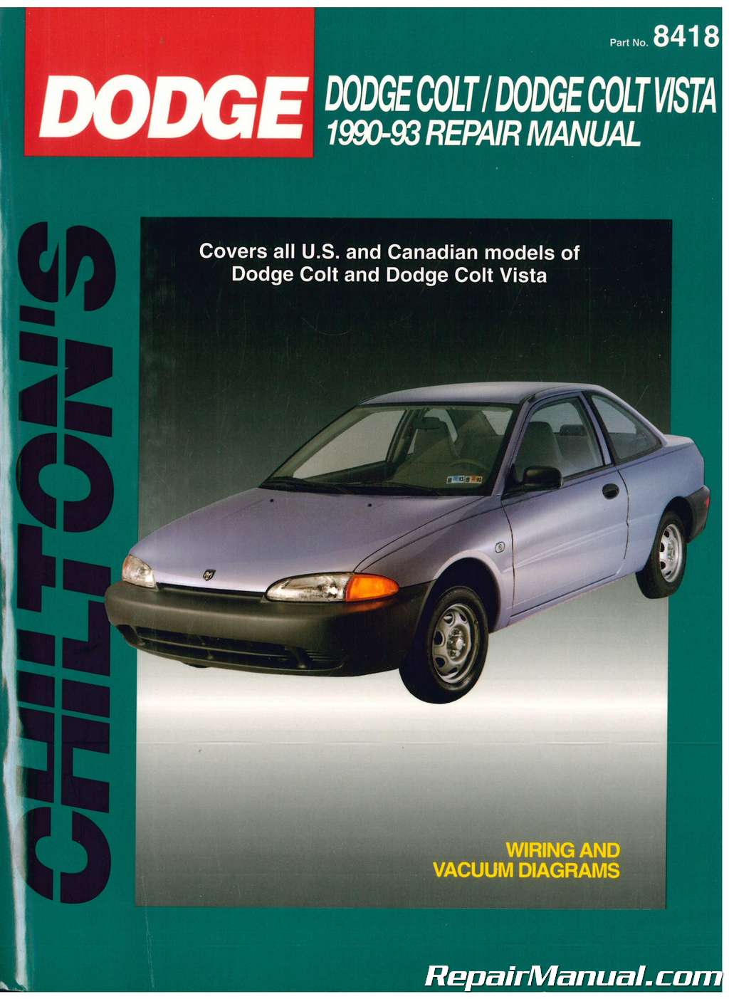 hight resolution of used chilton dodge colt dodge colt vista 1990 1993 repair manual 1990 dodge colt engine diagram