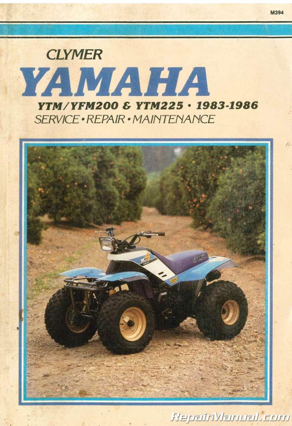 medium resolution of used clymer yamaha ytm200 ytm225 yfm200 1983 1986 repair diagram of 1986 moto4 yfm200dxs yamaha atv shift shaft diagram and