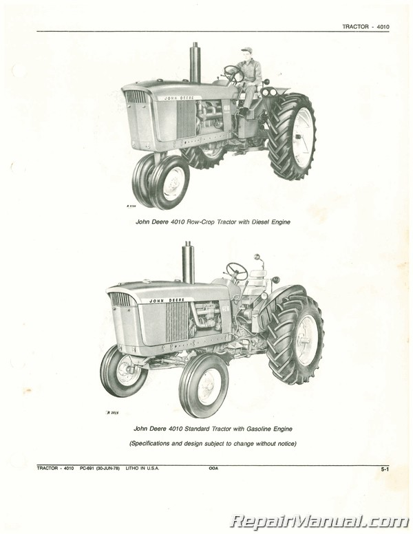 Used John Deere 4010 Tractor Parts Manual