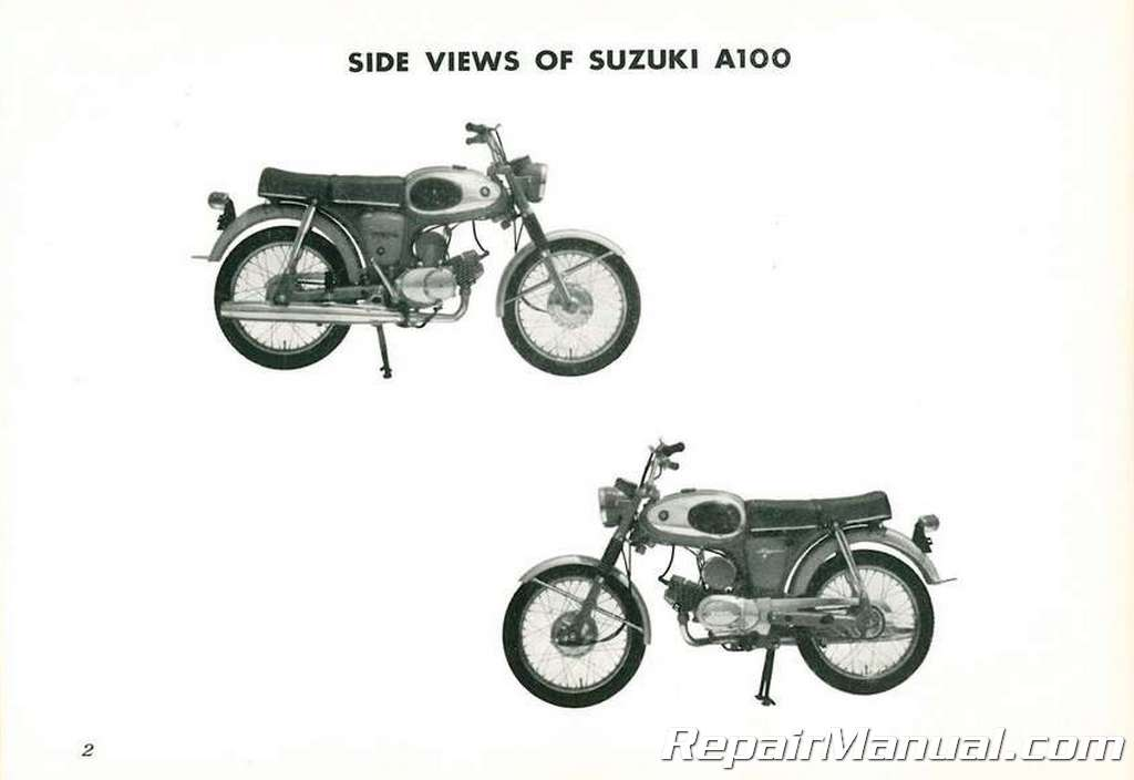 Used Suzuki A100 Motorcycle Owners Manual