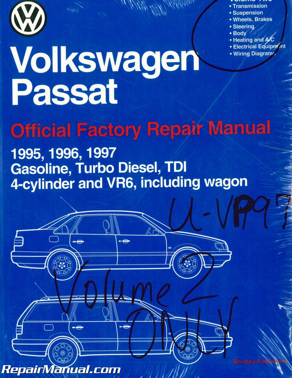 hight resolution of volume 2 only volkswagen passat b4 repair manual 1995 1996volume 2 only volkswagen