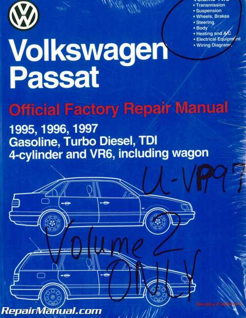small resolution of volume 2 only volkswagen passat b4 repair manual 1995 1996volume 2 only volkswagen