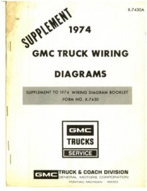 GMC Truck Wiring Diagrams Manual Supplement 1974 Used