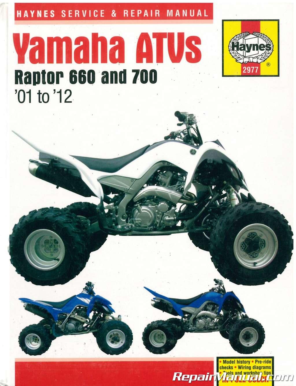 hight resolution of yamaha raptor 660 700 2001 2012 atv repair manual