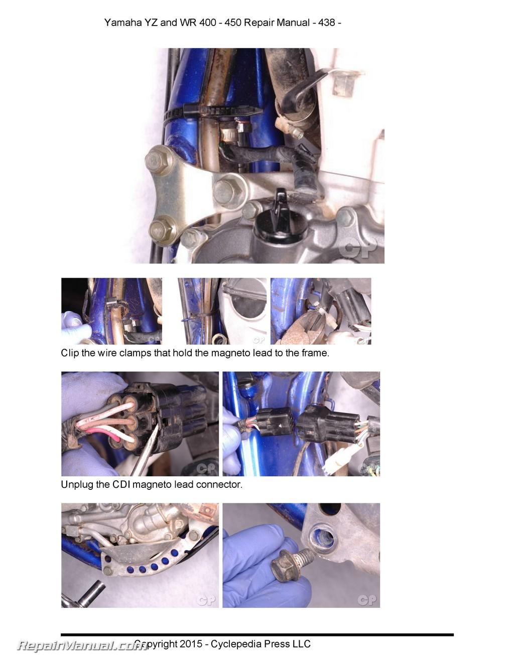hight resolution of  array yamaha yz wr 400 426 450f cyclepedia printed motorcycle service manual rh repairmanual