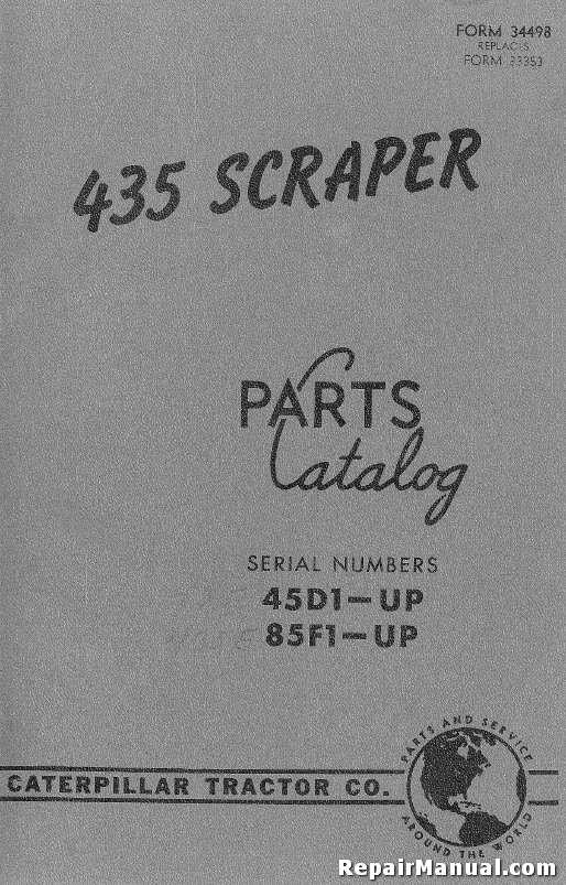 Caterpillar 435 Scraper Parts Manual