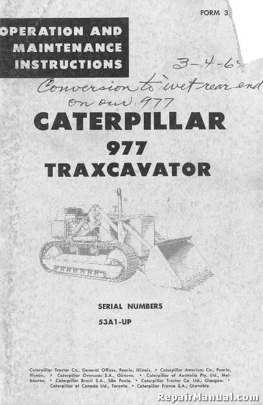 Caterpillar 977 Traxcavator Operators Maintenance Manual