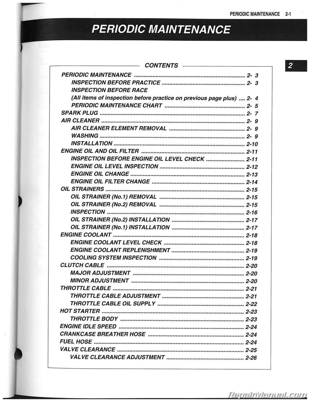 hight resolution of 2012 2014 suzuki rm z250 service manual
