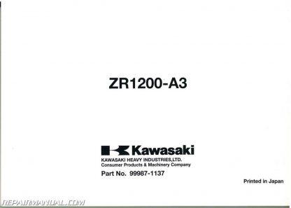 2001-2005 Kawasaki ZRX1200 Motorcycle Owners Manual