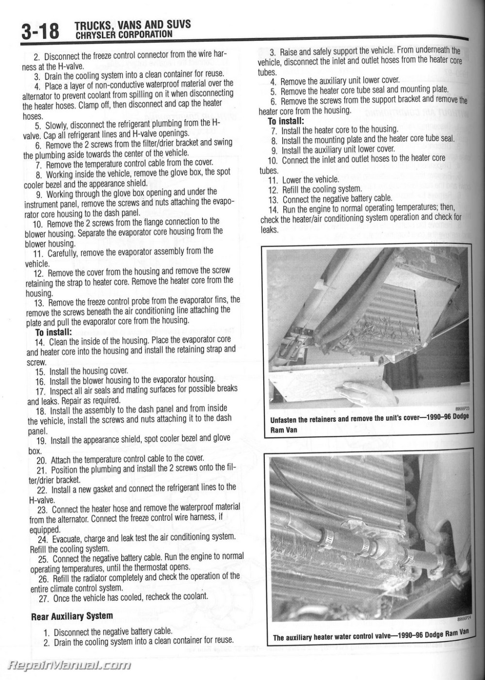 medium resolution of 1990 dodge ram heater core