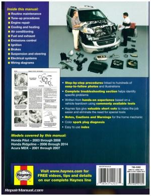 Honda Pilot 20032008 Honda Ridgeline 20062014 Acura MDX 20012007 Haynes Repair Manual