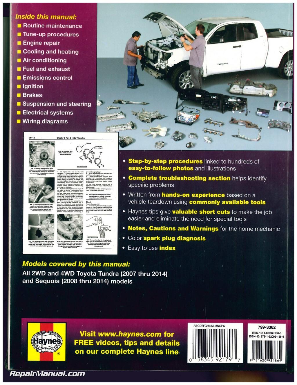 hight resolution of haynes 2007 2014 toyota tundra 2008 2014 sequoia repair manual lexus gx wiring diagram