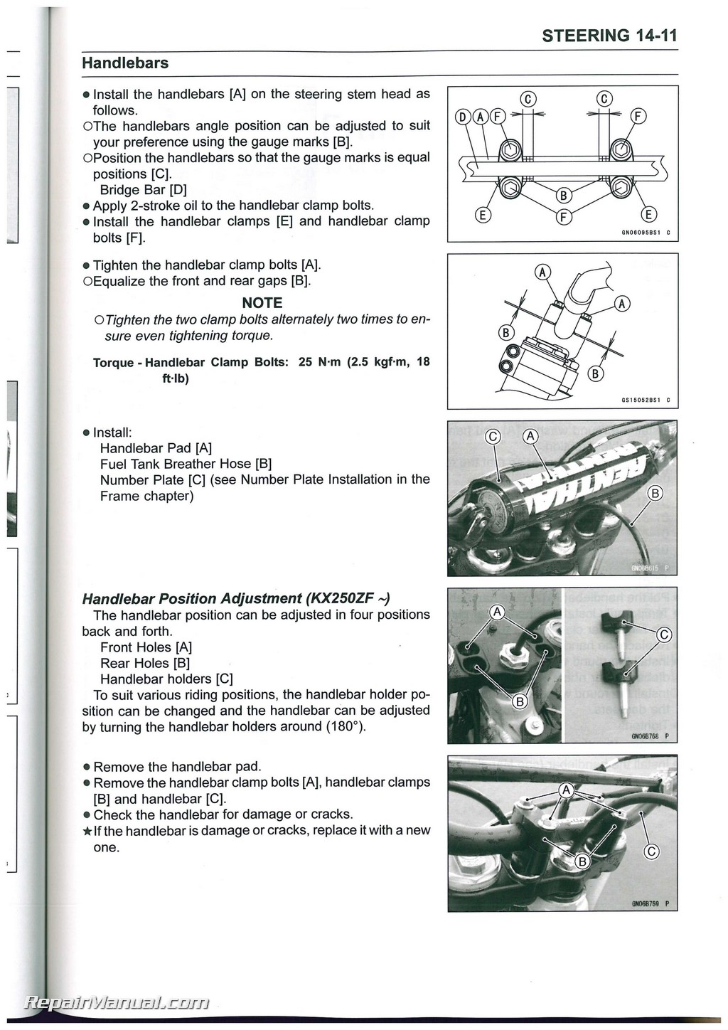 2013-2016 Kawasaki KX250F Motorcycle Service Manual