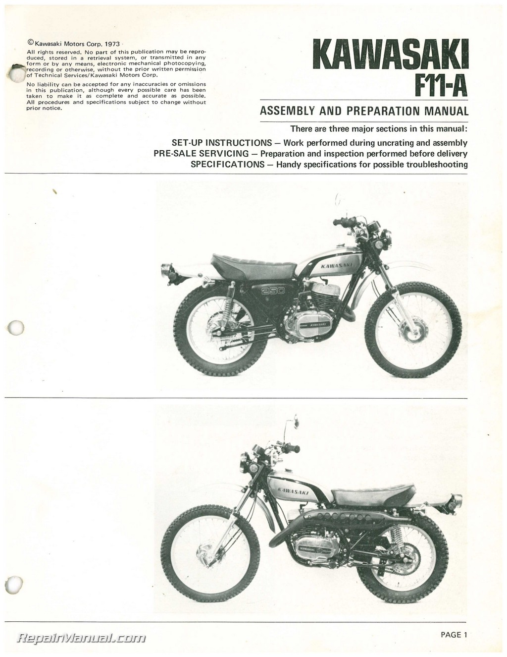Kawasaki F11-A 250 Assembly and Preparation Manual