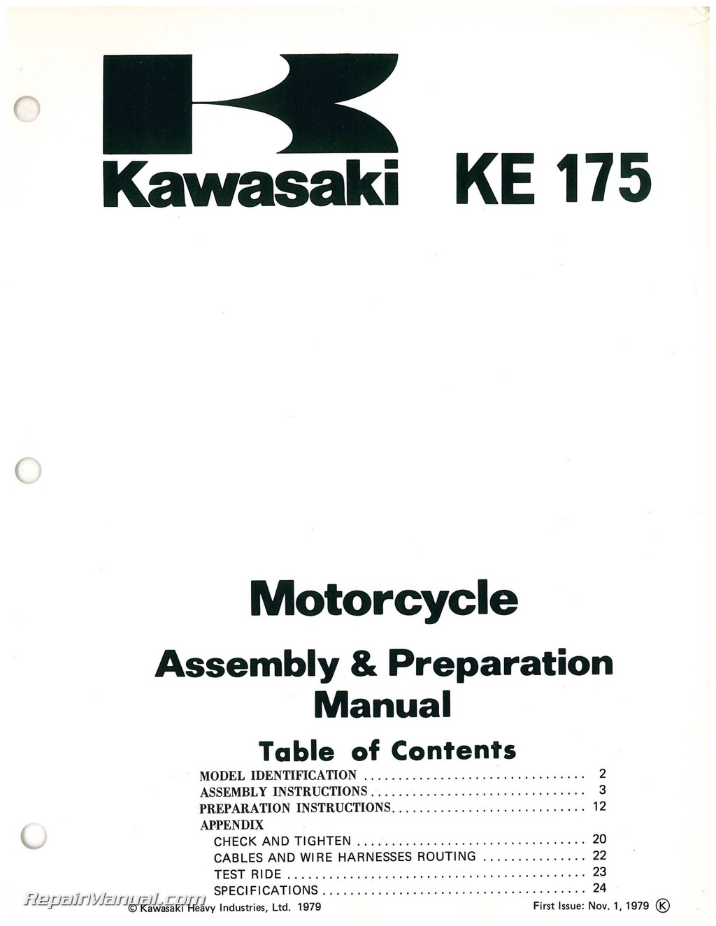 Used 1980 Kawasaki KE175 D2 Motorcycle Assembly