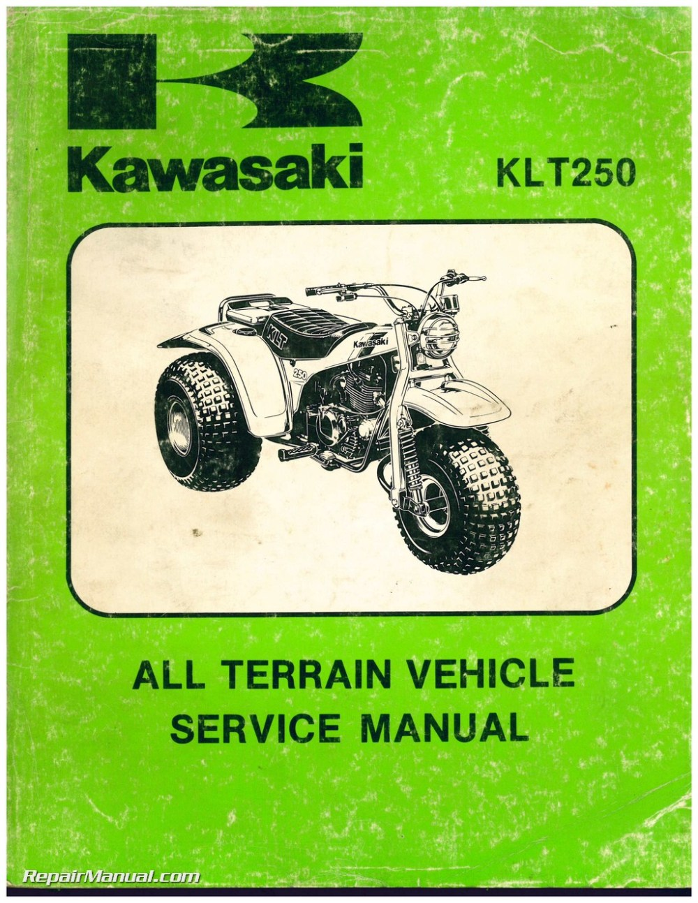 medium resolution of 1982 kawasaki klt250 a1 3 wheel atc printed service manual rh repairmanual com yamaha 250 four