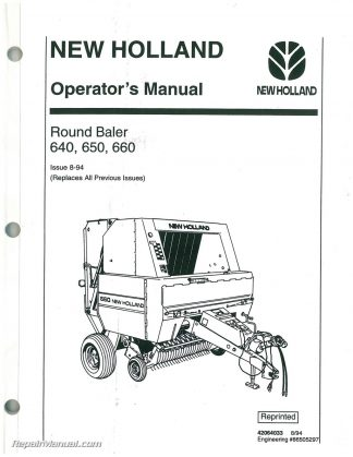 Used New Holland 640 650 660 Round Baler Operators Manual