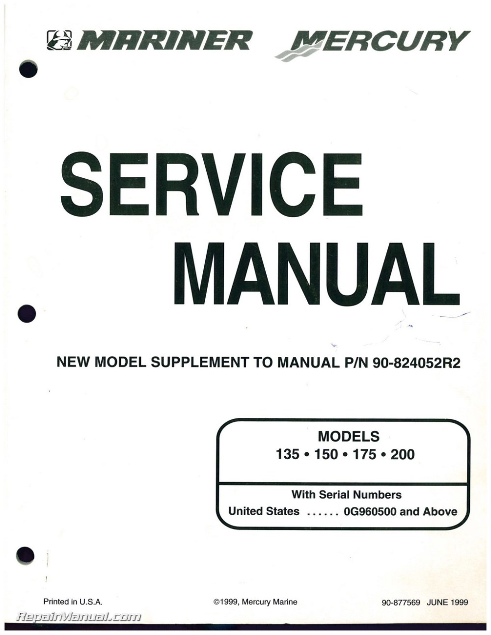 medium resolution of used mariner mercury 135 150 175 200 marine engine service manual supplement