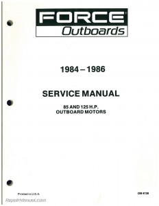 1984 1985 1986 FORCE Outboard Engine 85hp 125hp Service Manual
