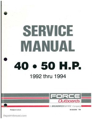 1992 1993 1994 FORCE Outboard Engine 40hp 50hp Service Manual