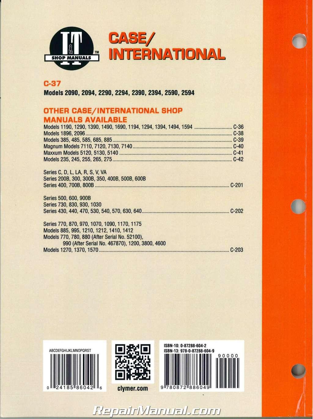 hight resolution of case international 2090 2094 2290 2294 2390 2394 2590 2594 tractor repair manual