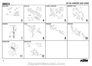 2008 KTM 50 SX Junior Engine Spare Parts Manual
