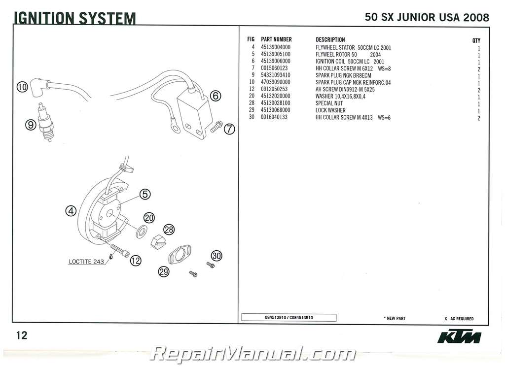 2008 KTM 50 SX Junior Engine Spare Parts Manual