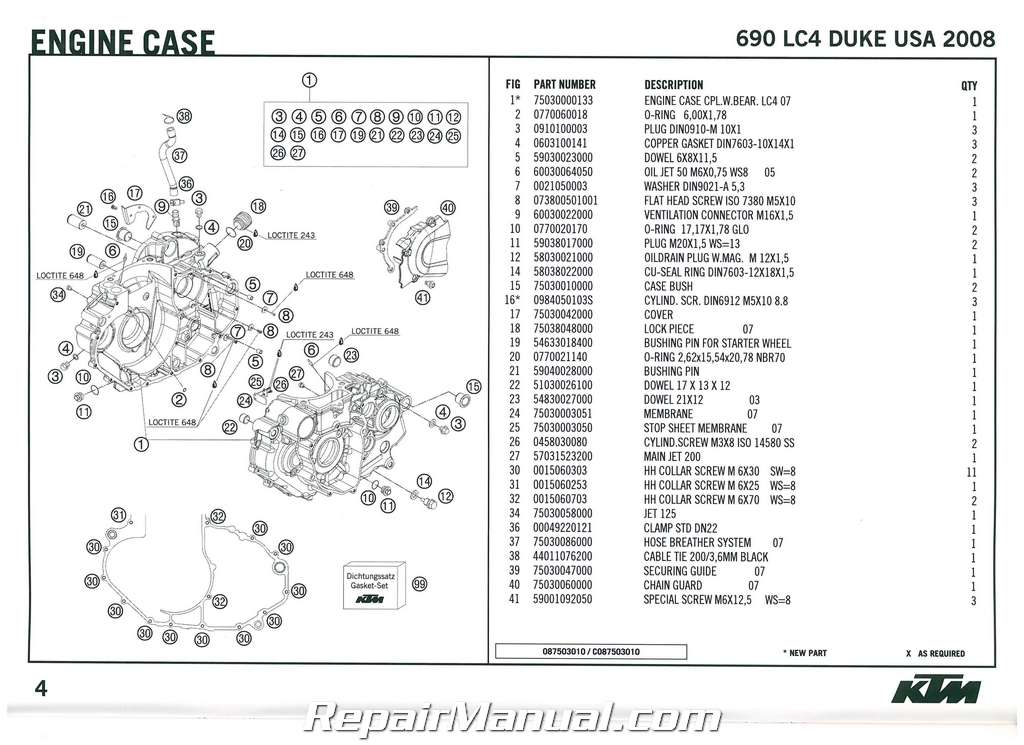 2008 KTM 690 LC4 Duke Engine Spare Parts Manual