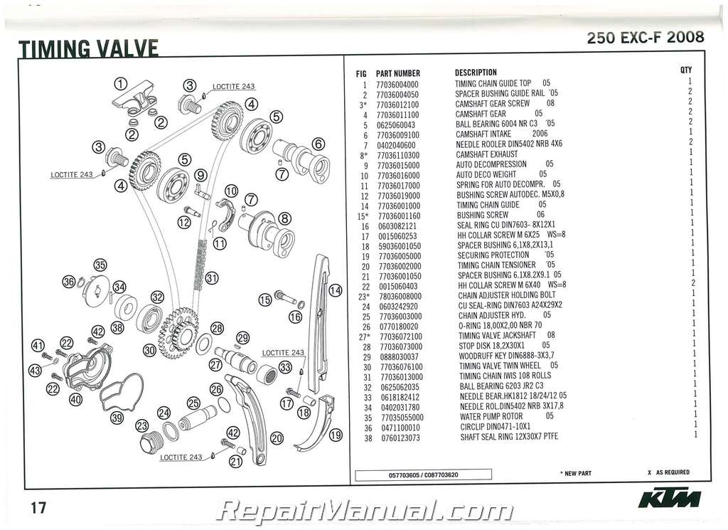 2008 KTM 250 EXC-F Engine Spare Parts Manual