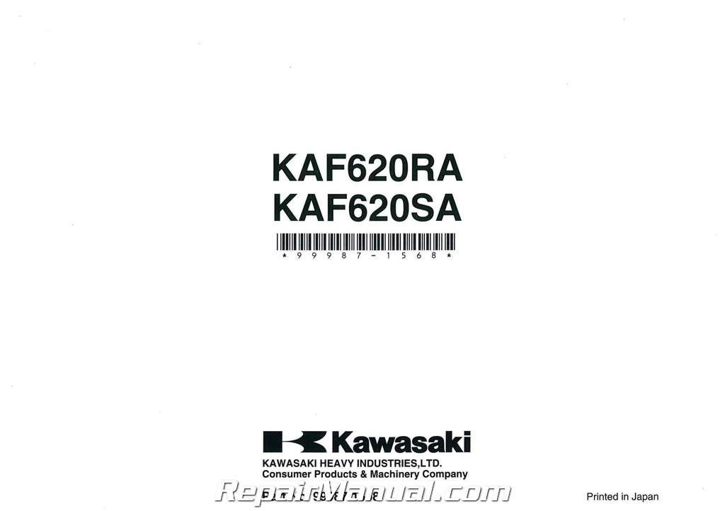 2010 Kawasaki KAF620R S Mule 4010 Trans4X4 Owners Manual