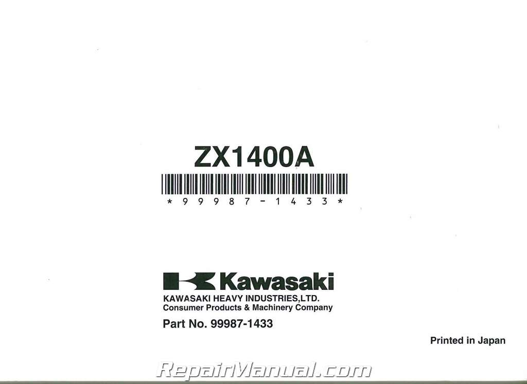 2007 Kawasaki ZX1400A Ninja ZX-14 Motorcycle Owners Manual