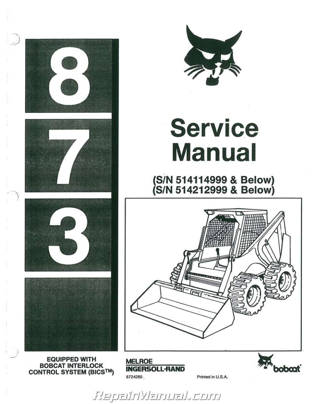 medium resolution of bobcat 873 loader service repair manual download sellfy revision number february date revision route attentionaffecting immediately high flow 743ds follow