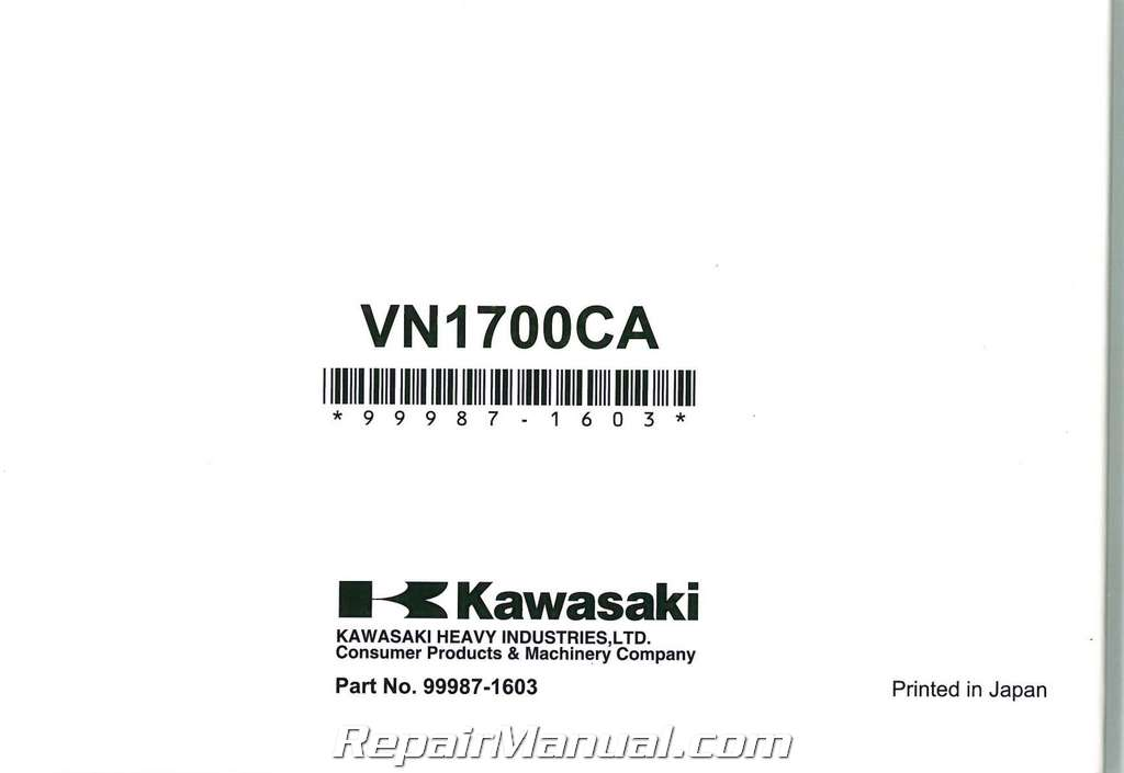 2010 Kawasaki VN1700CA Vulcan Nomad Motorcycle Owners Manual