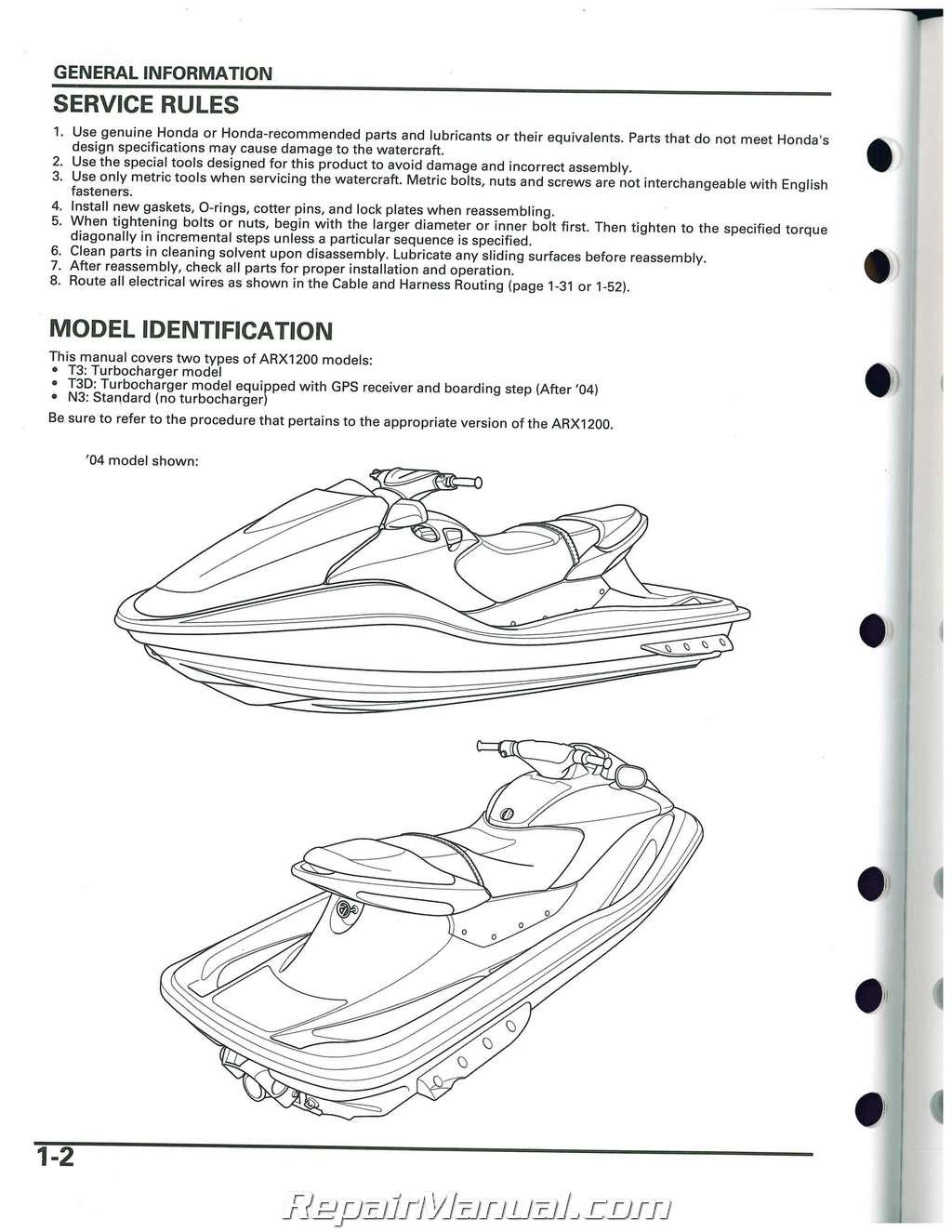 2004-2007 Honda ARX1200 Aquatrax N3 T3 T3D Owners Service