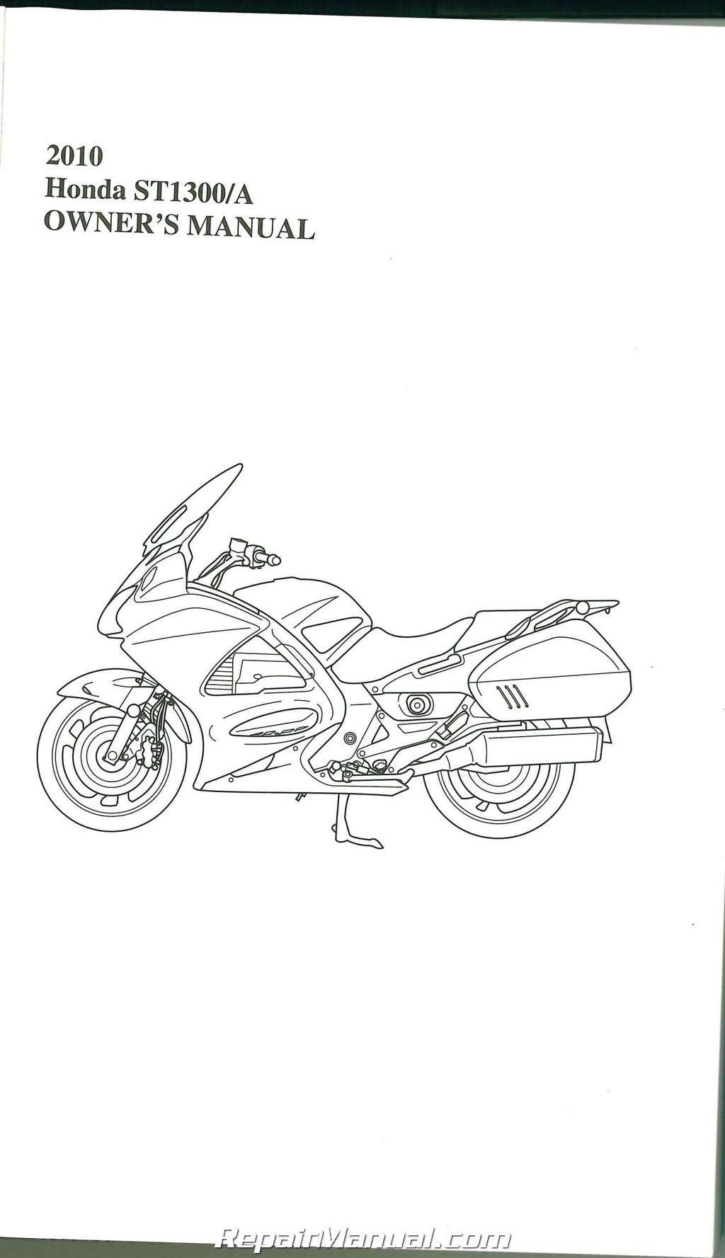 2010 Honda ST1300 A Motorcycle Owners Manual