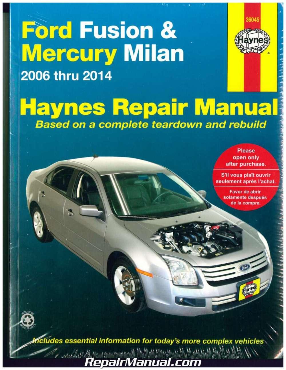 medium resolution of haynes ford fusion 2006 2014 mercury milan