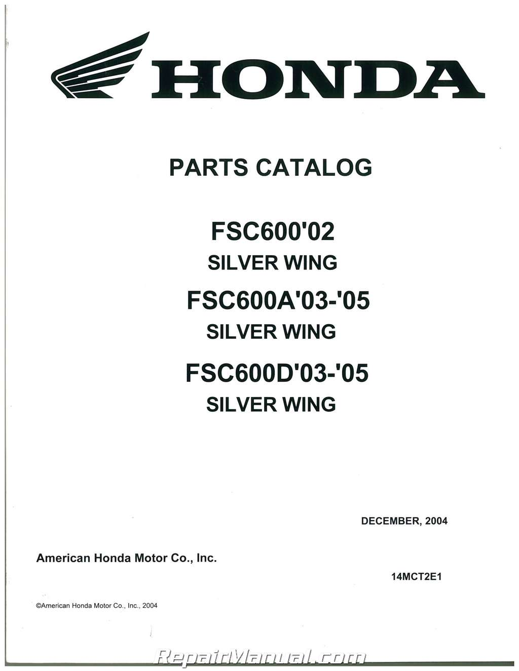 2002-2004 Honda FSC600 Silver Wing Motorcycle Parts Manual