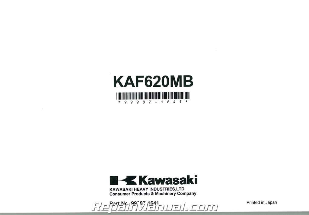 2011 Kawasaki KAF620M Mule 4010 4×4 Owners Manual