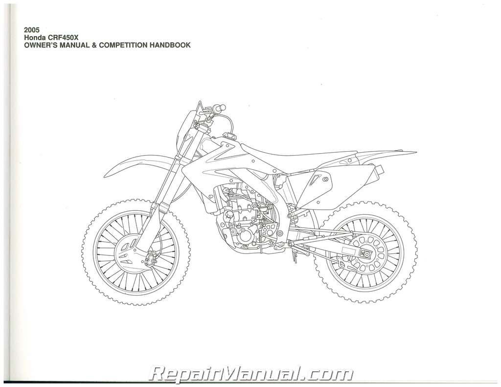 2005 Honda CRF450X Motorcycle Owners Manual Competition