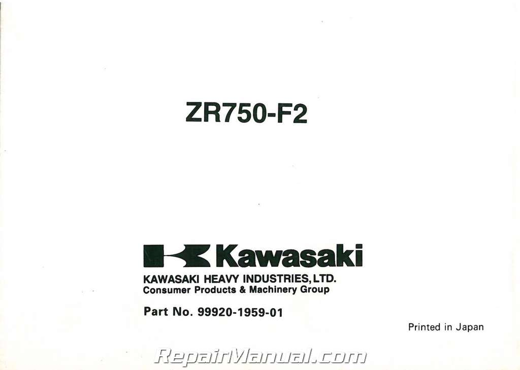 2000 Kawasaki ZR750F2 ZR-7 Motorcycle Owners Manual