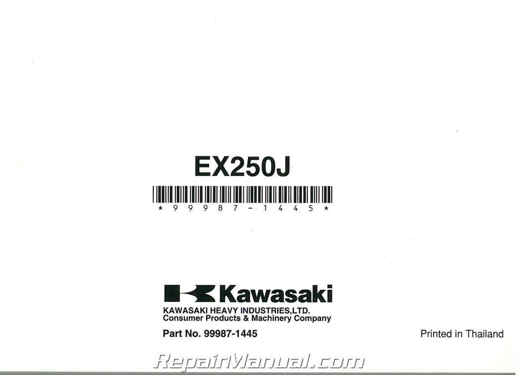 2008 Kawasaki EX250 Ninja Motorcycle Owners Manual