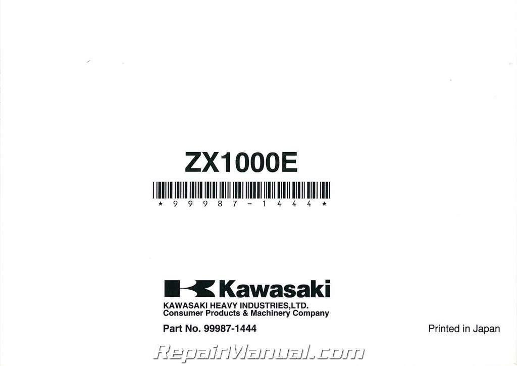 2008 Kawasaki ZX1000E Ninja ZX10R Owners Manual
