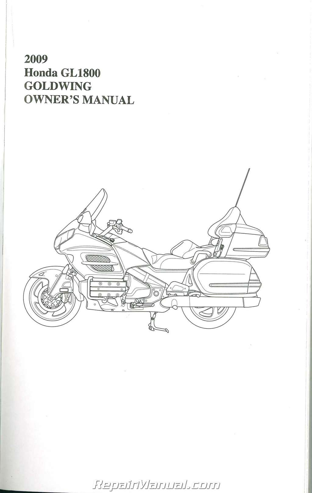 2009 Honda GL1800 Gold Wing Motorcycle Owners Manual