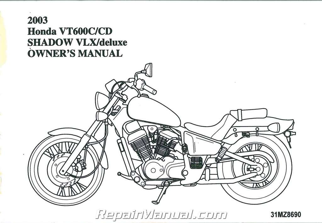 2003 Honda VT600 Shadow VLX Deluxe Motorcycle Owners Manual