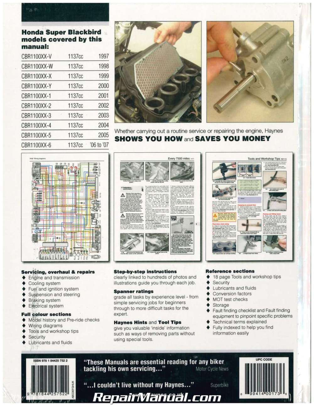 medium resolution of haynes honda cbr1100xx 1997 2007 motorcycle repair manual h3901 electrical wiring cbr1100xx wiring diagram